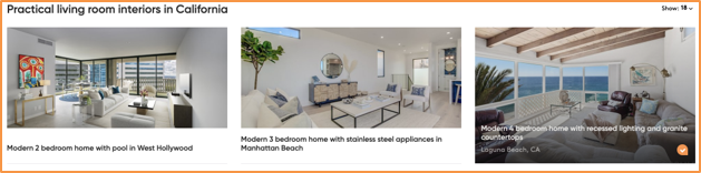 Image demonstrates on of the Purlin's StyleExporer's unique features when finding a home using style: displaying images side-by-side of interior rooms of different houses.