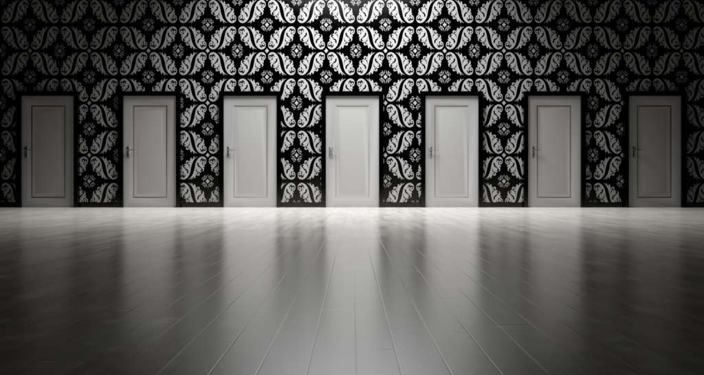 a visual representation of a buyer being presented with too many doors, each representing a different style option